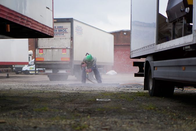 Mobile onsite sand blasting services commercial vehicles